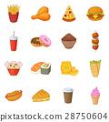 Fast food icons set, cartoon style 28750604