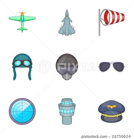 Pilot icons set, cartoon style 28750624