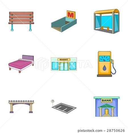 City elements icons set, cartoon style 28750626