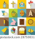 Easter items icons set, flat style 28750631