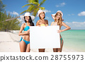 happy young women with white board on summer beach 28755973