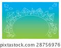 家、鳥、樹木の線画ポストカード。ベクター 28756976