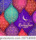 Beautiful Elegant stylized Ramadan Kareem Lanterns 28758068