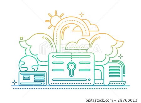 Freedom - flat line design website banner - color 28760013