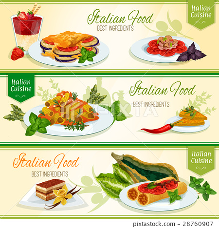 Italian cuisine dinner with dessert banner set 28760907