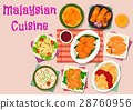Malaysian cuisine exotic dishes icon design 28760956