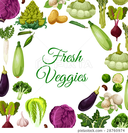 Fresh vegetables, mushroom and beans poster design 28760974