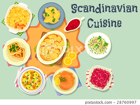 Scandinavian cuisine tasty dinner icon design 28760997