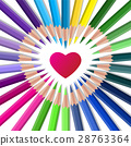 Color vector crayons with red heart 28763364