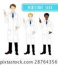 Scientist Man Pointing Up with Serious Face.  28764356