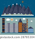 Vector illustration of a flat design with city 28765304