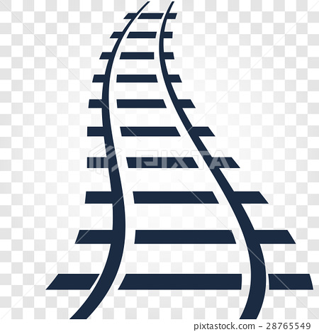 Isolated rails, railway top view, ladder elements 28765549