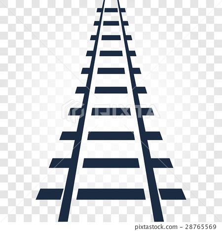 Isolated rails, railway top view, ladder elements 28765569