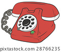 Cartoon retro red telephone with green button 28766235