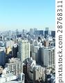 도시 풍경 【도쿄의 거리 풍경과 푸른 하늘] 28768311