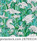 Seamless pattern of colorful hand drawn seashells 28769334
