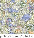 Seamless pattern of colorful hand drawn seashells 28769352