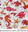 Seamless pattern of colorful hand drawn seashells 28769353