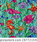 Vector seamless pattern Underwater creatures 28772159