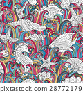 Seamless pattern of colorful hand drawn seashells 28772179