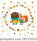 Cute fox and bear walking in wreath of autumn 28772434
