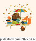 Cute fox and funny bear reading books on bench 28772437