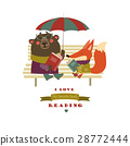 Cute fox and funny bear reading books on bench 28772444