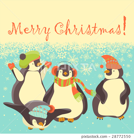 Funny penguins friends celebrating Christmas 28772550