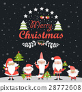 Funny Santa Clauses with Christmas tree 28772608