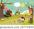 Cute animals walking in spring forest 28774849
