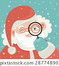 Portrait of Santa Claus with magnifying glass 28774890