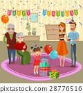 Family Birthday Home Celebration Cartoon 28776516