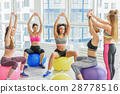 Sportive laughing girls in gym 28778516