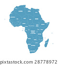 Simple flat blue map of Africa continent with 28778972