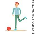 casual man a footballer beating on a ball 28779148
