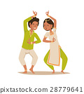Indian woman man dancing vector isolated dancers 28779641