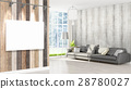 Modern interior with empty frame . 3D rendering 28780027