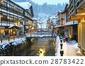 ginzan, onsen, snow 28783422