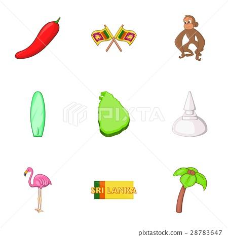 Symbols representing Sri Lanka icons set 28783647