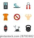 Sports training icons set, flat style 28783902