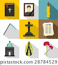Death of person icons set, flat style 28784529