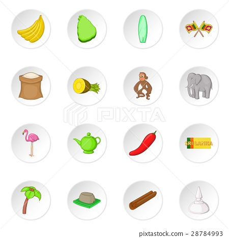 Sri Lanka travel icons set 28784993