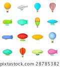 Vintage balloons icons set, cartoon style 28785382
