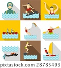 Water stay icons set, flat style 28785493