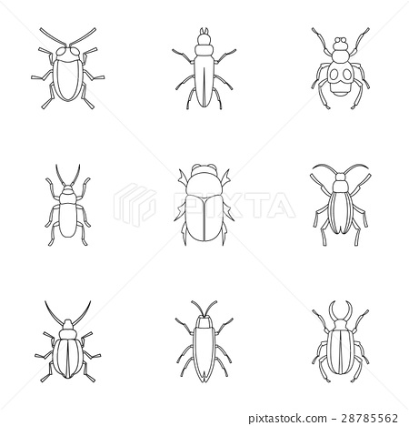 Insects beetles icons set, outline style 28785562