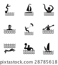 Water stay icons set, simple style 28785618