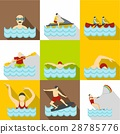 Active water sport icons set, flat style 28785776