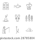Fishing sport icons set, outline style 28785804