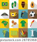 Brazil travel symbols icons set, flat style 28785968