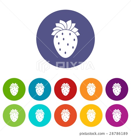Strawberry set icons 28786189
